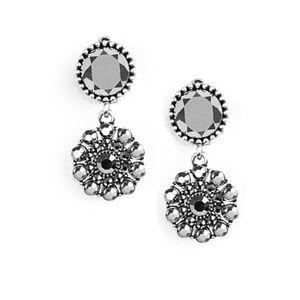 Glittering Gardenias - Silver Clip-On Earrings